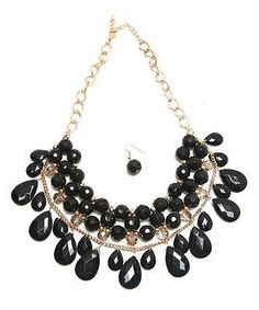 NEW Black bib necklace earrings statement chunky strand Lot of 3 sets RESELL
