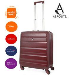 AEROLITE 56X45X25CM EASYJET, BRITISH AIRWAYS, JET2 & MONARCH LIGHTWEIGHT 4 WHEEL ABS HARD SHELL HAND CABIN LUGGAGE SUITCASE