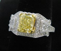 2.75CT Total, Fancy Canary Yellow Diamond Ring in 18K White Gold, NEW! #SolitairewithAccents