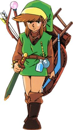 Link and his items from The Legend Of Zelda (NES/Famicom Disk System, 1986).