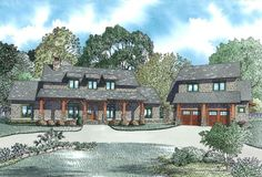 House Plan 110-00983 - This sprawling Mountain House Plan is amazingly attractive. The interior features approximately  2,555 square feet of space with  5 bedrooms, 4 baths and double overhead lofts; one of which is a guest suite located over the garage.