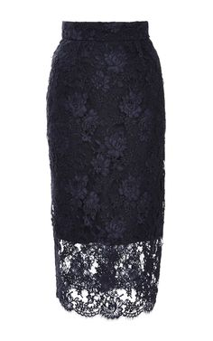 Corded Lace Illusion Pencil Skirt by Monique Lhuillier for Preorder on Moda Operandi