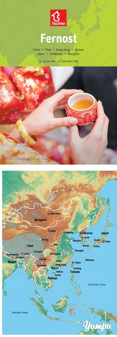 TISCHLER REISEN - FERNOST 2016 - Magazine with 116 pages: Tischler Reisen - Fernost |  Tauchen Sie ein in einige der ältesten und reichsten Weltkulturen! Im Tischler-Fernost-Programm finden Sie spannende Kultur-Rundreisen und tolle Städtrips in einige der faszinierendsten Metropolen der Welt. Länder wie Japan, Süd-Korea und Taiwan vereinen jahrhundertealte Traditionen mit modernster Infrastruktur. China begeistert durch seine Vielfalt an Kulturschätzen und einzigartigen Landschaften und die… Taipei Taiwan, Travel Magazines, China, Japan, Travel Agency, Osaka, Korea, World Cultures, Mongolia