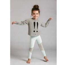 Designer Girls Clothes - Alfie Girls Leggings - Stylish AND comfy - your little miss will never want to take off these funky mint and grey girls leggings by Alfie! #designerkidsclothes #alfieapparel #funkykidsclothes #littlebooteek