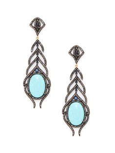 Turquoise, Sapphire, & Pave Champagne Diamond Drop Earrings by Karma Jewels at Gilt