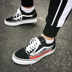old skool vans black white flames outfit fashion style