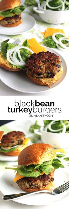 Black Bean Turkey Burgers - a hearty, delicious, and healthy alternative to a traditional burger!   slimsanity.com