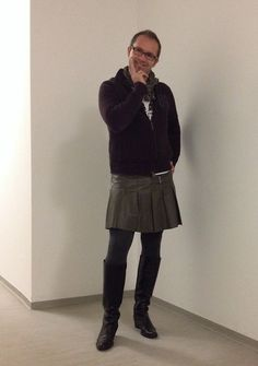 Get this look: http://lb.nu/look/5444392 More looks by Nikolaus H: http://lb.nu/nikolaus Items in this look: Dkny Cardigan, Ktm Shirt, Vintage Pleated Leather Skirt, Esprit Scarf #leather #kilt