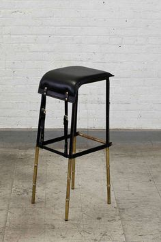 Jacques Adnet, Set of Six Black Leather Stools | From a unique collection of antique and modern stools at http://www.1stdibs.com/furniture/seating/stools/