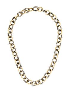 David Yurman Two-Tone Oval Medium Link Necklace