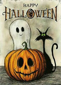 Happy Halloween Katze Kürbis Halloween Geist Halloween Bilder Happy Halloween K … - Katzen Witzig Retro Halloween, Halloween Imagem, Vintage Halloween Cards, Halloween Designs, Halloween Tags, Holidays Halloween, Halloween Crafts, Halloween Party, Vintage Halloween Decorations