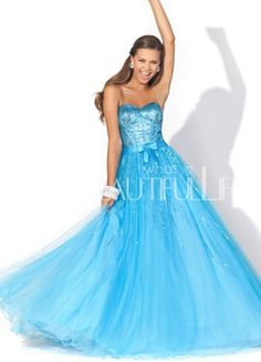 $199.99 Lovely Blue #Sweetheart Natural #Floor-length Satin And Organza Prom #Dress With Sequins