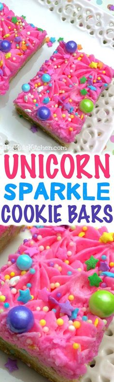Supremely sparkly and perfect for any occasion — these unicorn sugar cookie bars are almost too much fun!) An easy kids party dessert. Party Desserts, Just Desserts, Delicious Desserts, Dessert Recipes, Fun Recipes, Holiday Desserts, Family Recipes, Holiday Baking, Holiday Treats