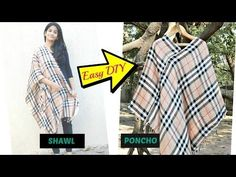Convert Shawl to Poncho with just 1 cut and 2 straight stitches: Easy DIY - YouTube