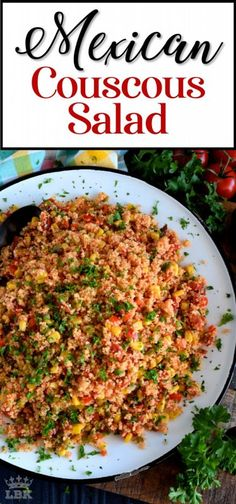 May 2020 - A warm and hearty Mexican Couscous Salad which is great served as a side or even better as a main dish! Make it as spicy or as mild as you want; great served cold too! Lettuce Salad Recipes, Best Salad Recipes, Chicken Salad Recipes, Authentic Mexican Recipes, Mexican Food Recipes, Healthy Side Dishes, Side Dish Recipes, Dinner Recipes, Easy Recipes