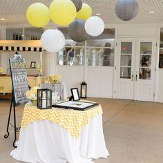 black chevron wedding reception | guest book reception decor gray yellow light yellow chevron