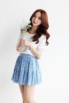 Korean fashion - white lace top and blue floral skirt