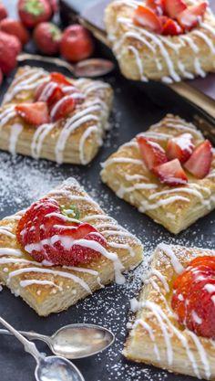 Mansikkaviinerit | Maku Finnish Recipes, Muffins, Baked Doughnuts, Sweet Pastries, My Best Recipe, Food Humor, Sweet Cakes, Dessert Recipes, Desserts