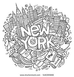 Cartoon cute doodles hand drawn New York inscription. Sketch illustration with american theme items. Line art detailed, with lots of objects background. Funny vector artwork
