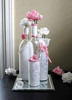 SET3 Decorated Wine Bottle Centerpiece by DazzlingGRACE on Etsy, $45.00