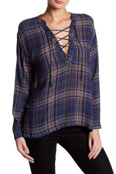 Long Sleeve Plaid Lace-Up Blouse