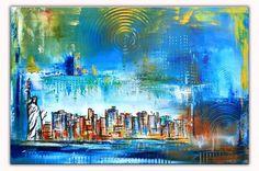 New York Abstrakt Modern Art Original Gemälde Malerei Painting 60x80 #skyline #bunt #gemälde #leinwandbild #abstrakt