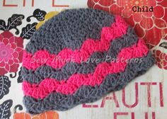Child size pink and gray chevron crochet hat by RockinTheLove, $14.00
