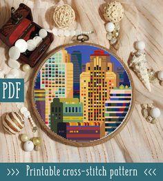 Modern cross stitch pattern. City cross stitch pattern. House image 0 White Prints, Modern Cross Stitch Patterns, Dmc Floss, Embroidery Hoop Art, Sewing Hacks, Sewing Tips, Digital Pattern, Etsy Seller, Etsy Shop