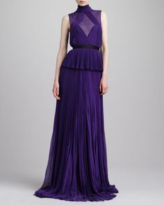 Swiss Dot-Inset Pleated Peplum Gown, Violet by Jason Wu at Neiman Marcus.