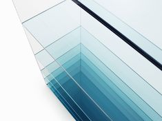 deep-sea by NENDO 2013.04 for Glas Italia A collection composed of a low table and shelf for glass manufacturer Glasitalia, known for their superb technical manipulation of colour, cut and adhesion for sheet glass.