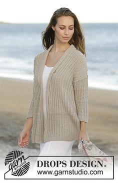 Knitted jacket with textured pattern in DROPS Cotton Merino. Sizes S - XXXL. Free pattern by DROPS Design.