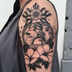 Resultado de imagem para hawaii+tattoo,+hibiscus,+beach,+dolphin