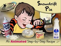 Snowdrift Pie - Animated Step-by-Step Recipe  Available in 3 formats: Regular, SymbolStix, PCS