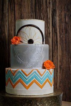 24 Delicious And Beautiful Boho Chic Wedding Cakes - crazyforus Gorgeous Cakes, Amazing Cakes, Dream Catcher Cake, Dream Catchers, Native American Cake, Bohemian Cake, Western Cakes, 4th Birthday Cakes, Birthday Lunch