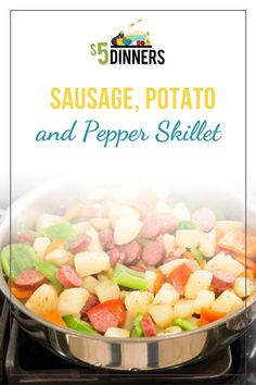 This Sausage, Potato & Pepper Skillet Dinner recipe is the perfect meal for the meat and potato lover in your family! It's simple, quick, and cooks in one skillet! Get this easy meal recipe here! Smoked Sausage And Potato Recipe, Smoke Sausage And Potatoes, Sausage Recipes, Pork Recipes, Healthy One Pot Meals, Easy Healthy Recipes, Healthy Cooking, Healthy Eating