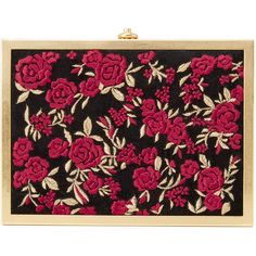 Alice + Olivia Darla Embroidered Box Clutch (€250) ❤ liked on Polyvore featuring bags, handbags, clutches, alice + olivia, kiss-lock handbags, hardcase clutch, locking purse, embroidery handbags and velvet clutches