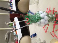 Chix with Stix golf centerpiece for golf outing!