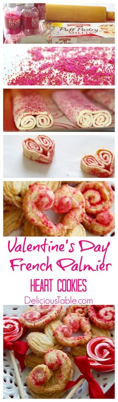 Happy Valentine's Day! French Palmier Heart Cookies with step by step instructions, so easy once you know the secret ingredient and the cookie baking tips!