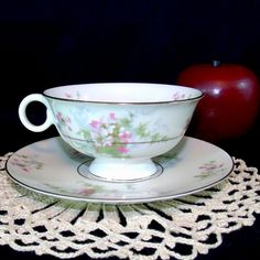 Theodore Haviland Apple Blossom Cup Saucer by NanasAntiqueBoutique