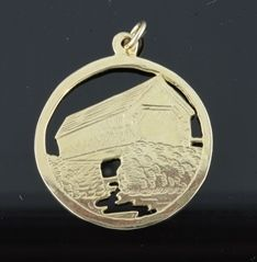 Ferro Jewelers - Charms   COVERED BRIDGE DISC WITH RIVER CHARM