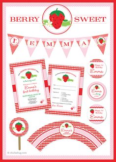 "A ""berry sweet"" strawberry theme party! Paper goods and printables from Chickabug.com"