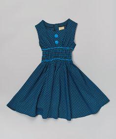 Loving this Cobalt Blue Windowpane Sweetheart Dress - Toddler & Girls on #zulily! #zulilyfinds