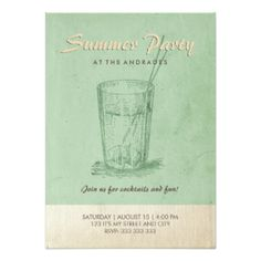 Vintage champagne cocktail party formal fun custom 5x7 paper summer cocktail party adult retro style mint green 45x625 paper invitation card stopboris Choice Image