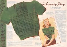 Free Pattern | Tuppence Hapenny | A Summery Jersey from My Home Magazine 1946 | Square neck sweater.