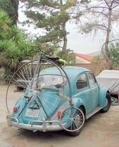 VW beetle and high-wheel bicycle