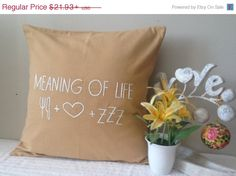 Quote pillows, Meaning of life quote pillow, customized quote pillows, words pillows, beige burlap words pillow