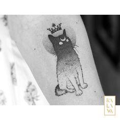 Devil and cute cat tattoo in dotwork. Tatouage petit chat dark. By KALAWA Tattooer - Tattoo dotwork artist from Aix-en-provence (FRANCE)