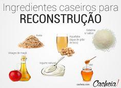 Exemplos de ingredientes caseiros para reconstrução
