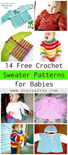 14 Free Crochet Sweater Patterns for Babies - DIY & Crafts