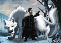 Lord Commander of the Night's Watch, Jon Snow and his Dire Wolf, Ghost from the Book Series, A Song of Ice and Fire. EDIT: Redid the look for Jon Snow a. Game Of Thrones Tattoo, Got Game Of Thrones, Jon Snow, Game Of Thrones Wallpaper, Game Of Trones, Dire Wolf, Fantasy Comics, 2d Character, Digital Illustration